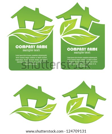 vector set of ecological homes signs, stickers and icons - stock vector