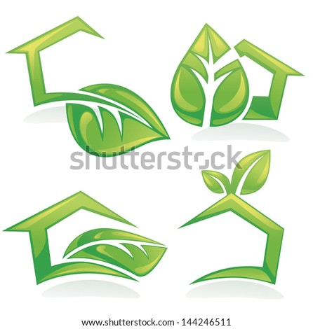 vector set of ecological houses and homes, symbols, signs and icons - stock vector