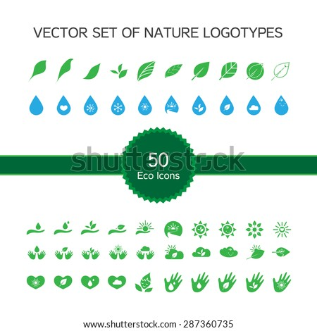 Vector set of 50 ecology icons, nature logo, biology symbols from leaves, hand, sun, snow, drop - stock vector