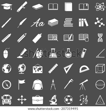 Vector Set of 49 Education Icons. School and University. - stock vector