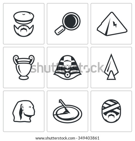 Vector Set of Egypt Icons. Archaeology, Search, Research, Monument, Craft, Treasure, Weapon, Time, Shrine. Archaeologist, Magnifier, Pyramid, Amphora, Pharaoh, Spear, Sphinx, Sundial, Mummy - stock vector