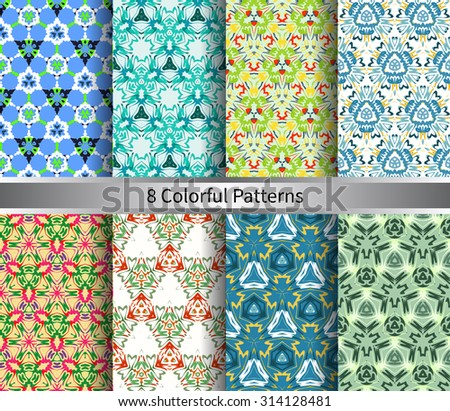 vector set of  eight colorful pattern for background - stock vector
