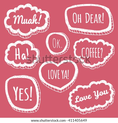 Vector set of eight comic speech bubbles in trendy hand-drawn style. Hans sketched set of speech bubbles. Comic quotes balloons with text. - stock vector