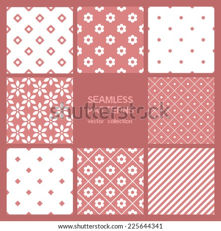 Vector set of eight seamless patterns. Floral, striped and polka dots repeating backgrounds. Cute pastel collection - stock vector