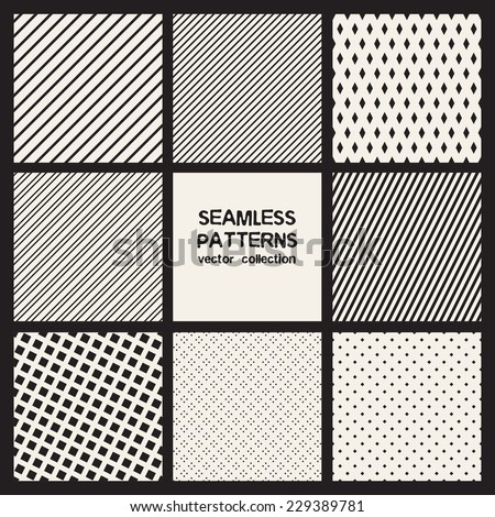 Vector set of eight seamless patterns. Monochrome geometric patterns. Simple striped textures, backgrounds with rhombuses and squares - stock vector