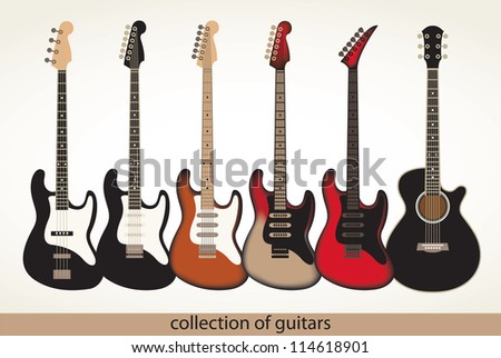 vector set of electric and acoustic guitars