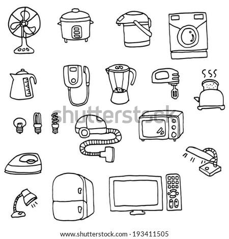 vector set of electrical appliances - stock vector