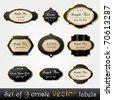 Vector set of elegant, dark, gold-framed labels - stock vector