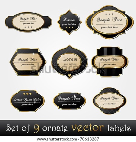 Vector set of elegant, dark, gold-framed labels - stock vector