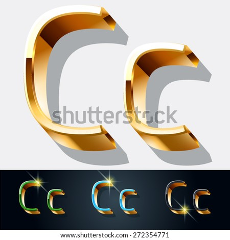 Vector set of elegant gold jewelry font. Letter C - stock vector