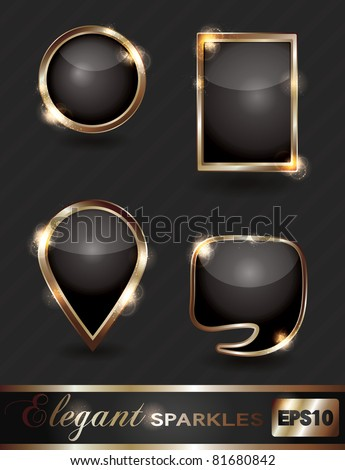 Vector set of elegant sparkling black and gold web buttons - stock vector