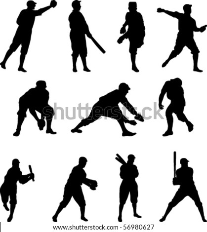 Vector Set of eleven baseball players in silhouette - Set Two - stock vector