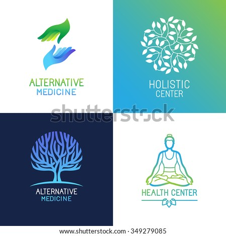 Vector set of emblems and logo design templates on bright gradient colors - alternative medicine and wellness centers - tree and herbal icons, yoga and hands concepts - stock vector