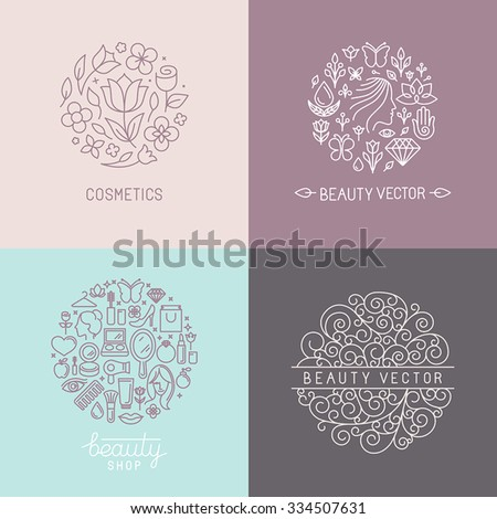 Vector set of emblems, badges and logo design templates for beauty shops, organic cosmetics and natural skin care products in trendy linear style - stock vector