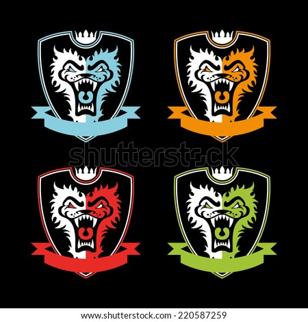 vector set of emblems with a lion's head on the shield in different colors - stock vector