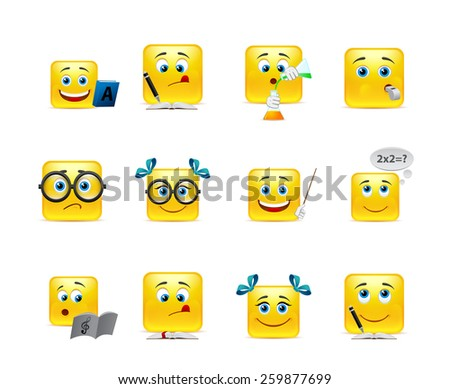 Vector set of emoticons for students - stock vector