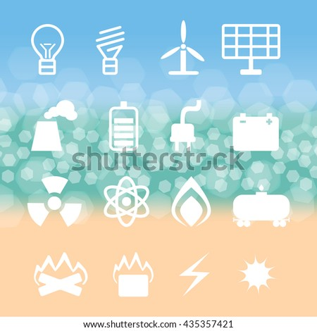 vector set of energetics symbols on  background of the bokeh