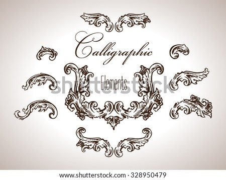 Vector set of engraving calligraphic elements in antique style - stock vector