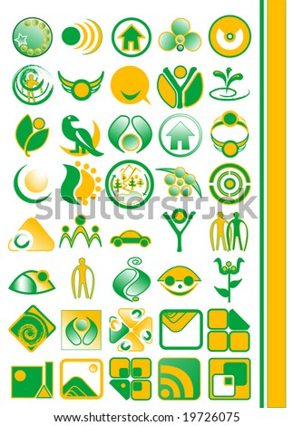 Vector set of environmental / recycling icons and logos - stock vector