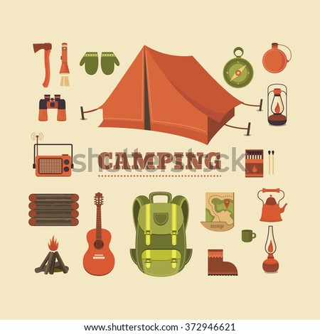 Vector set of equipment for camping - stock vector