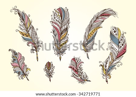 Vector Set of Ethnic feathers. Hand Drawn Tribal Feathers. Decorative zentangle feathers. Vintage colored Feathers. - stock vector