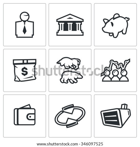 Vector Set of Exchange Icons. Broker, Bank, Piggy, Money, Bull and Bear, Quotes, Purse, Monitor. Man, Building, Accumulate, Bag, Exchange, Schedule, Finance, Rotating, Equipment.  - stock vector
