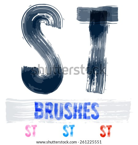 Vector set of extremely grunge underground style font. Hand-drawn brush alphabet. Letters S T  - stock vector