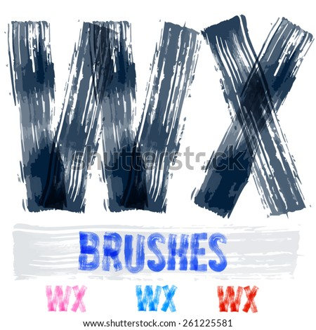 Vector set of extremely grunge underground style font. Hand-drawn brush alphabet. Letters W X  - stock vector