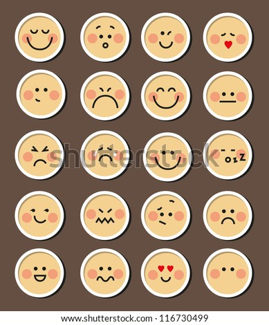 Vector set of 20 faces for chat emotion symbols - stock vector