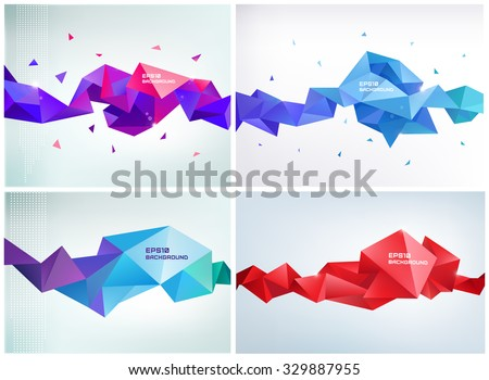 Vector set of faceted 3d crystal colorful shapes, banners. Faceted 3d shapes, crystal banners, horizontal orientation - stock vector