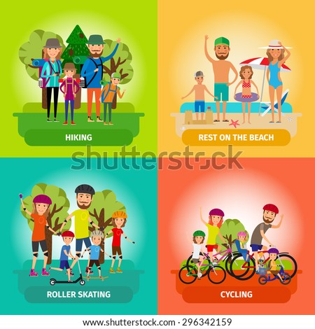 Vector set of family or healthy lifestyle concepts in flat style. Roller and beach, skating and cycling, hiking and sport. Vector illustration - stock vector