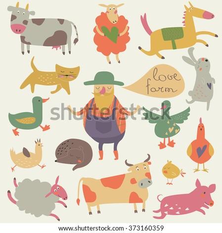 Vector set of farm animals with funny farmer in cartoon style. 'Love farm' poster. - stock vector