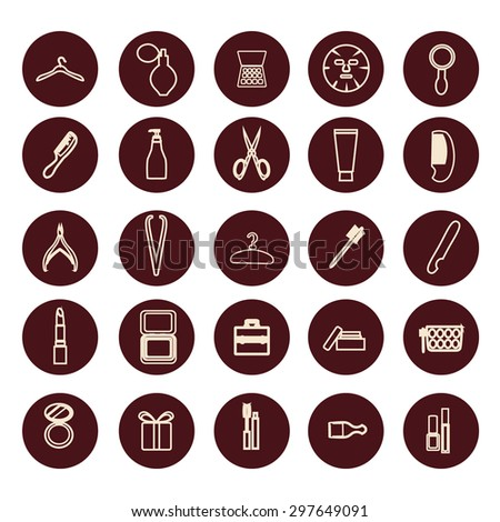 Vector set of Fashion and beauty women accessories  outline icons - Illustration