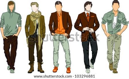 Vector set of fashion men - stock vector