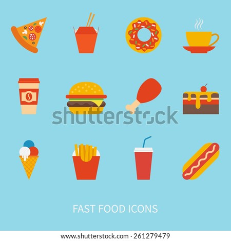 vector set of fast food icons