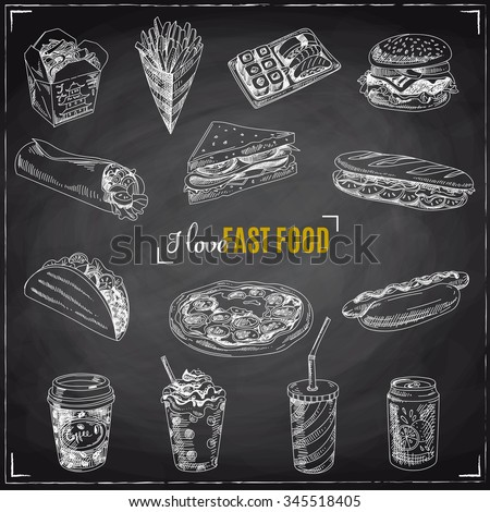 Vector set of fast food. Vector illustration in sketch style. Hand drawn design elements. Chalkboard - stock vector