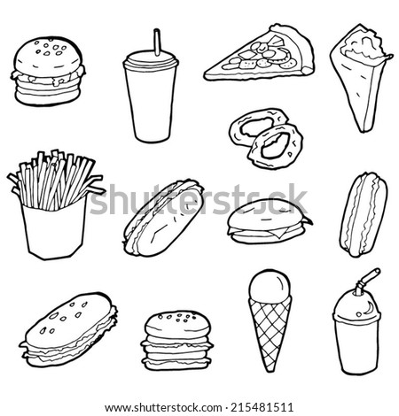 vector set of fastfood - stock vector