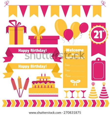 Vector set of festive birthday party elements. Flat design. - stock vector