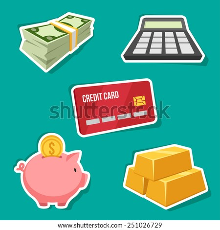 Vector set of finance icons. - stock vector