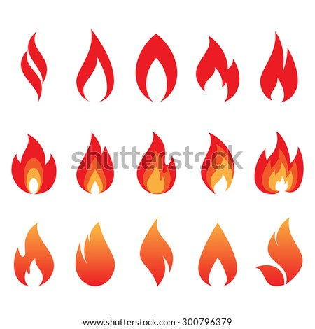 vector set of fire flames - stock vector