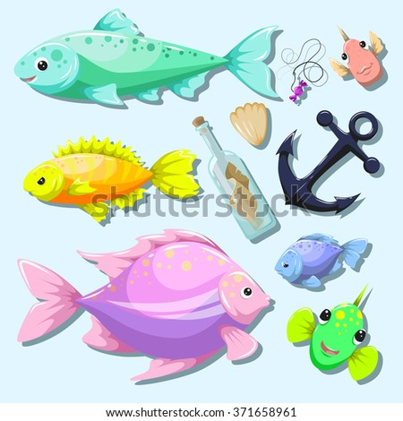 Vector set of fish, with emotions. Bottle with a message. Shell. Anchor. Fishing line with hook and bait with a piece of candy.