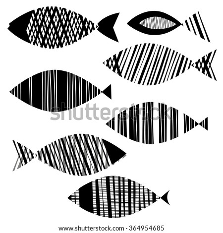 Vector set of fishes. Hand drawn doodle illustration, isolated elements for design on a white background.