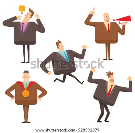 Vector set of five cartoon images of square businessmen in brown and black suits, with different actions and emotions on a white background. Geometric businessman. Vector business  illustration.