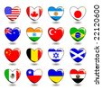 Vector set of flags like hearts - stock photo