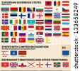 Vector set of Flags of European sovereign, partially recognised states and Dependent territories (March 2013). - stock vector
