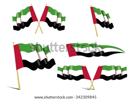 vector set of flags of the United Arab Emirates, elements for the design of a national day UAE - stock vector