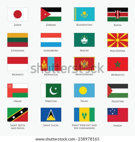 Vector set of Flags with official colors - stock vector