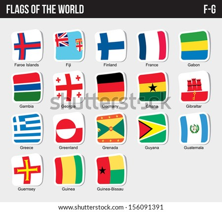 Vector set of Flags world sorted alphabetically. (F-G) - stock vector