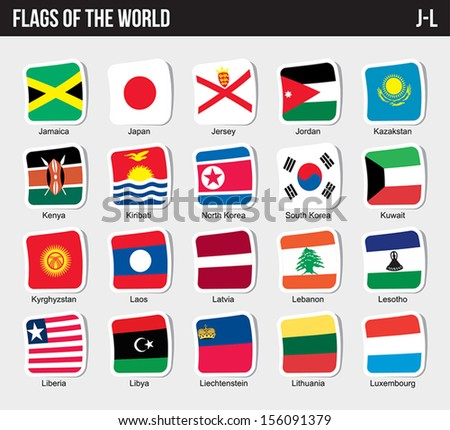 Vector set of Flags world sorted alphabetically. (J-L) - stock vector