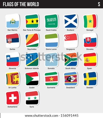 Vector set of Flags world sorted alphabetically. (S) - stock vector